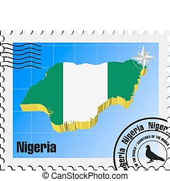 vector stamp  of Nigeria