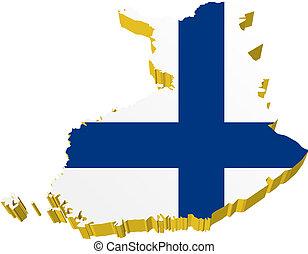 vectors 3D map of Finland
