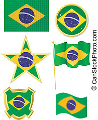 set of national subjects Brazil on a white background