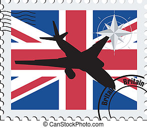 air travel in Britain - vector stamp with the national...