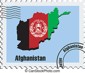 vector stamp of Afghanistan