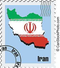 vector stamp of Iran - vector stamp with the image maps of...