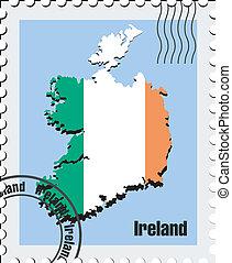 vector stamp of Ireland