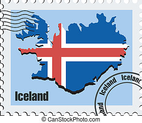 vector stamp of Iceland