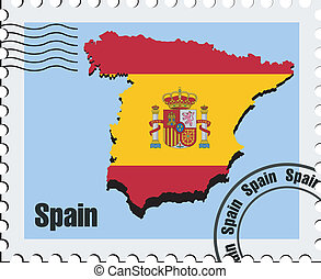 vector stamp of Spain - vector stamp with the image maps of...