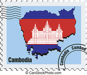 vector stamp of Cambodia - vector stamp with the image maps...