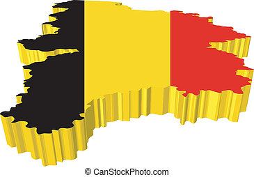 vectors 3D map of Belgium on a white background