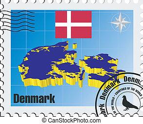vector stamp of Denmark