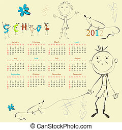 Template for calendar 2012 with cartoon style illustration