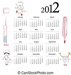 Calendar for 2012 with cartoon style illustration