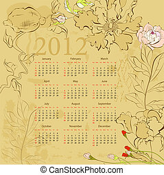 Vintage template for calendar 2012 with flowers