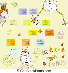 Cartoon style calendar 2012