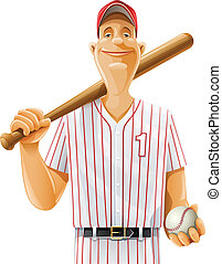 baseball player with bat and ball