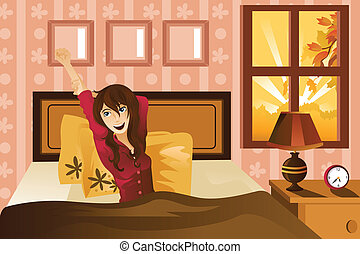 Woman waking up in the morning - A vector illustration of a...