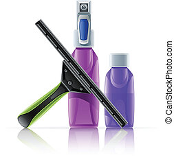 cleaning tool squeegee spray bottle vector illustration...