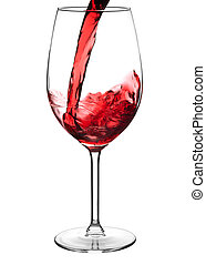 Pouring red wine into wine glass isolated on white