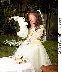 Alice in wonderland with white rabbit - Alice in Wonderland...