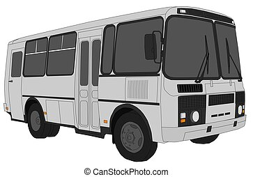 Minibus - Illustration of small grey bus