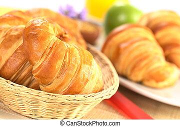 fresco, croissants, pão, cesta, vermelho, faca, ao...