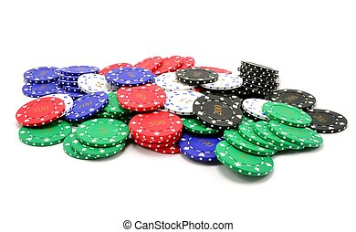 A pile of poker chips - A pile of scattered poker chips on a...