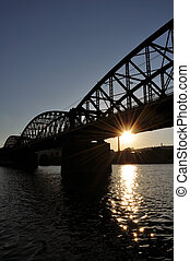 Sunset under the bridge - Sunset under the railway bridge in...