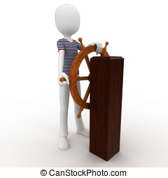 3d man sailor at the wheel isolated on white