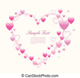 Love background with many hearts, vector.