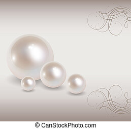Love background with pearls, romantic and elegant, vector.