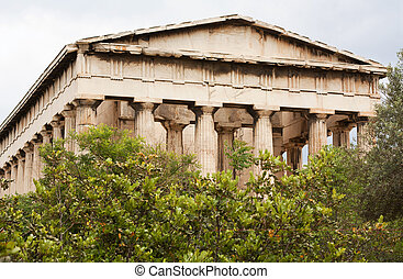 Ruins of the Temple of Hephaistos or Hephaisteion (also known as Thissio or Theseion) in the Ancient Agora in the centre of Athens, Greece.