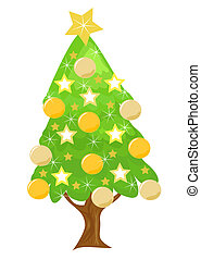Decorated golden Christmas tree