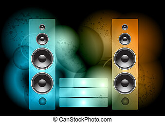 music abstract - speakers on the color background