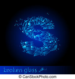 One letter of broken glass - S. Illustration on black...