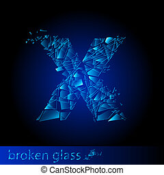 One letter of broken glass