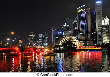SINGAPORE - FEBRUARY 4: Bay of Singapore by night, 4, 2011...