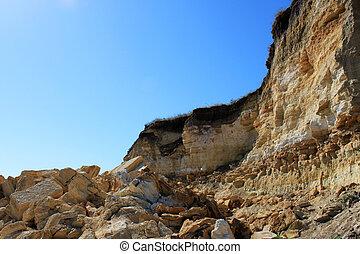 landslide on a seaside