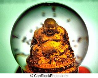 snowglobe buddha - buddha in a snow globe