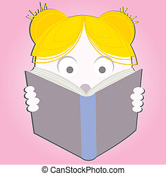 Illustration of a young sweet girl child happily reading a...