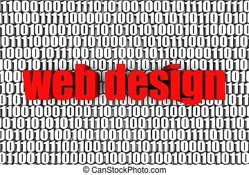 Web Design - Web design and binary code 3d text. Part of a...