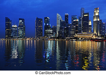 SINGAPORE - FEBRUARY 4: Bay of Singapore by night, 4, 2011 in Singapore