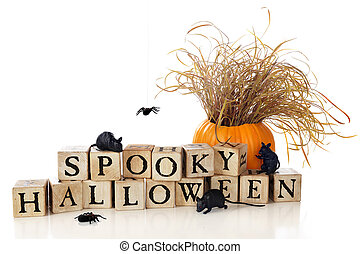 Spooky Halloween Wishes - Three black mice crawling over and...