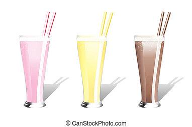Milkshakes - Strawberry, banana and chocolate milkshakes...