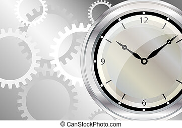 Clock - A vector illustration of a clock face with clockwork...