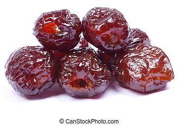 dates - dryed dates on white background