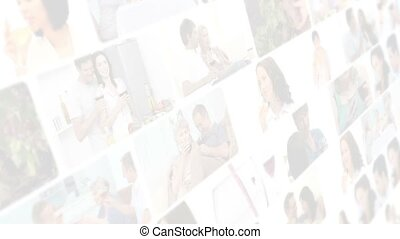 Montage of couples drinking wine