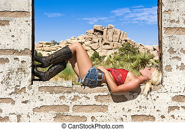 Country girl resting on window sill - A beautiful country...