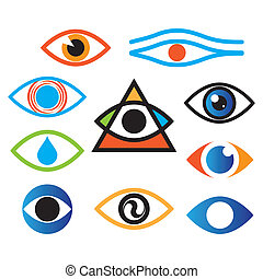 eye-color - Collection of icons - the eye, optics, lens.
