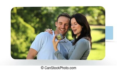 Montage of lovely couples relaxing in the park and on the...
