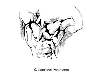 Strong man - hand draw strong man on white background