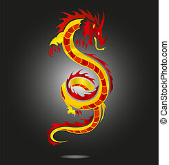 asia dragon sign red color isolated
