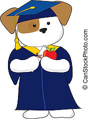 Cute Puppy Graduation - A cute puppy is dessin in a cap and...